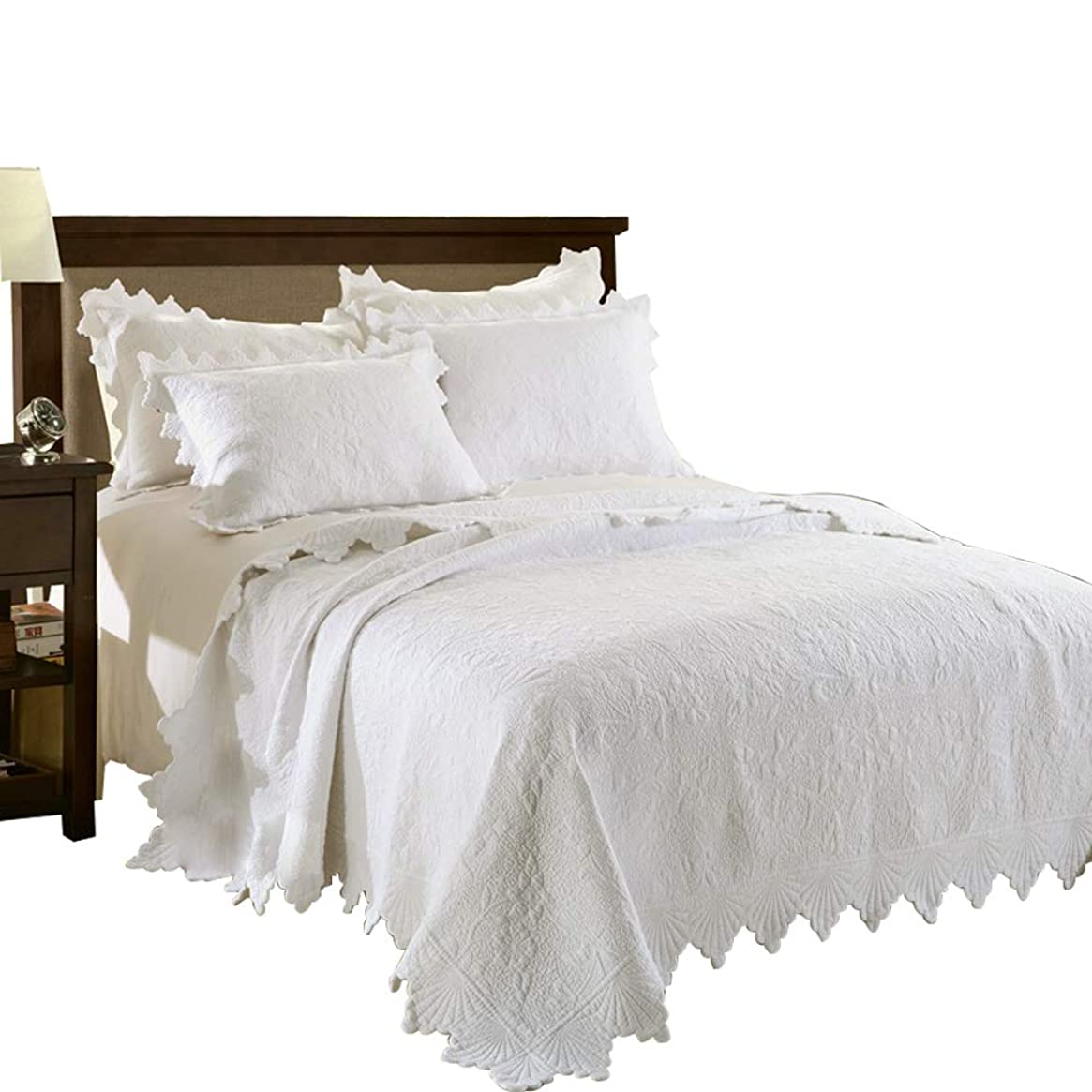 食器棚悲惨おベッドカバー ベッドスプレッド マルチ カバー キルト3点セット ダブル 綿100% (ナスは白です, 230*250cm)