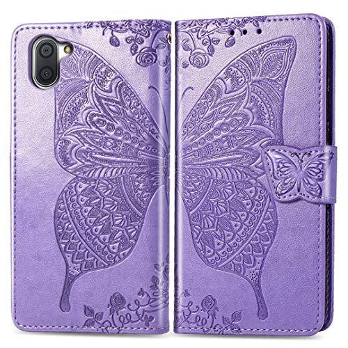 Sharp Aquos R3 Hülle, SATURCASE Schmetterling PU Ledertasche Magnetverschluss Brieftasche Kartenfächer Standfunktion Handy Tasche Schutzhülle Handyhülle Hülle für Sharp Aquos R3 (Lavendel)