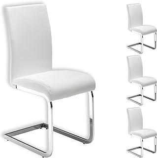 IDIMEX Lot de 4 chaises de Salle à Manger Leticia piètement chromé et revêtement synthétique Blanc