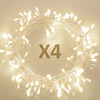 Koopower [4 Pack] 36ft 100 LED Battery Operated String Lights with Timer on 11M Outdoor Clear String Lights(8 Modes, IP65 ...