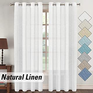 Elegant White Linen Sheer Curtains 96 inch for Living Dining Room, Open Weave Light Flowy Window Treatments, Nickel Grommet Top Linen Curtain Set (2 Panel, 52