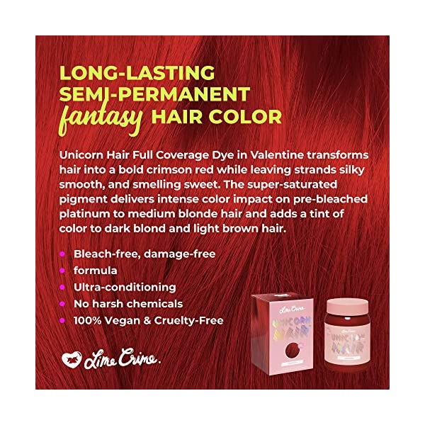 Lime Crime Unicorn Hair Dye, Valentine - Crimson Red Fantasy Hair Color - Full Coverage, Ultra-Conditioning, Semi-Permanent, Damage-Free Formula - Vegan - 6.76 fl oz 4