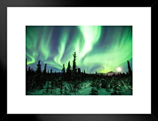 Poster Foundry Northern Lights or Aurora Borealis Alaska Photo Art Print Matted Framed Wall Art 26x20 inch