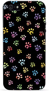 Inspired Cases - 3D Textured iPhone 5/5s/SE Case - Rubber Bumper Cover - Protective Phone Case for Apple iPhone 5/5s/SE - Dog & Cat Lover - Small Watercolor Paw Prints - Black