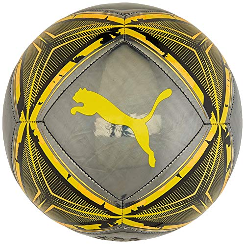 Puma Spin Ball, Pallone da Calcio Unisex-Adult, Black-Ultra Yellow-Orange Alert, 5
