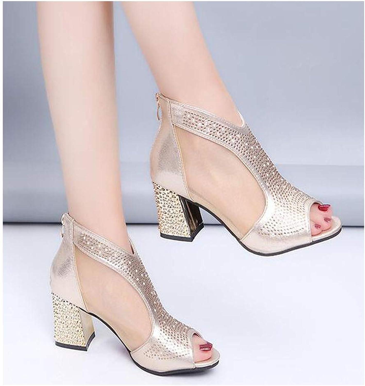 Women Sandals High Heels Diamond Summer Square Heel Women shoes