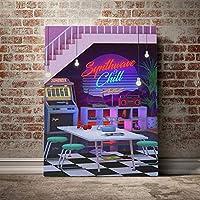 大人のためのDIY5Dダイヤモンドペインティングフルキット インテリア クリスマス プレゼント ホーム レストラン 装飾 クリスタル ラインストーン Synthwave And Chill Retro 80s (30x40)CM