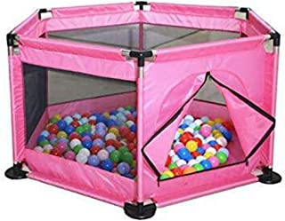 Baby Kids Playpen Activity Center Room Fitted Floor - with 50 pcs Balls Safety Protection Care Crawling Folding Fence Toys Portable Indoors Outdoors and Parks Gifts (Pink)