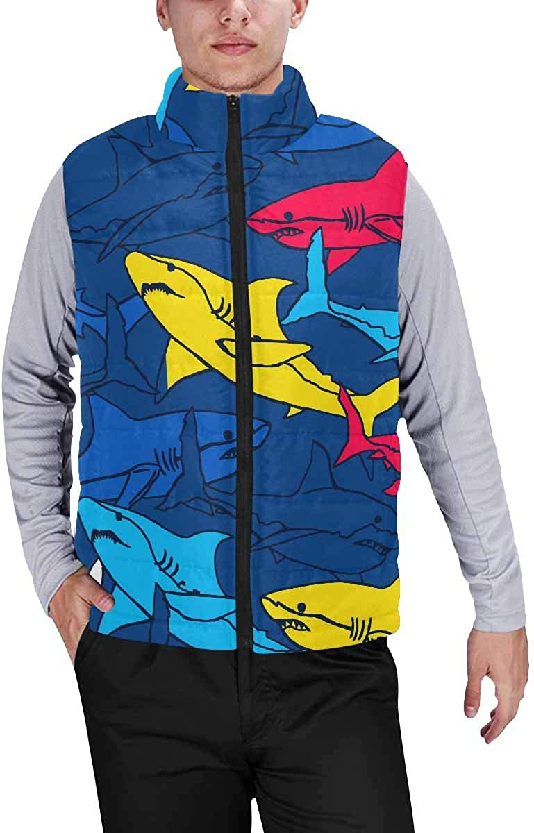 InterestPrint Men's Outdoor Casual Stand Collar Sleeveless Jacket Set of Wild Animal in Forest