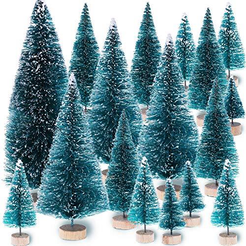 Leinuosen Piccoli Alberi di Natale Alberi di Natale di Sisal Ornamenti di Gelo Neve con Basi in Legno per Decorazione di Festa di Natale (Taglia 2, 38