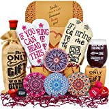 Gift Baskets for Women - Perfect Birthday Gifts for Her: 2 pairs of Funny socks, Funny glass, Coasters, Bottle...