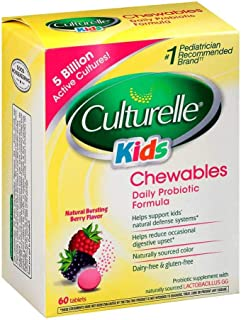 Culturelle Kids Daily Probiotic Chewable Dietary Supplement   Helps Support Kids' Immune & Digestive Systems   For Children Age 3+   #1 Pediatrician Recommended Brand, 60 Chewable Tablets