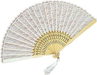 Demarkt Vintage Handfächer Holz Spitze Hand Fan Holz Handfächer Fächer Sommer Feste Party Hochzeit Hand Fan Hochzeitfächer Weiss