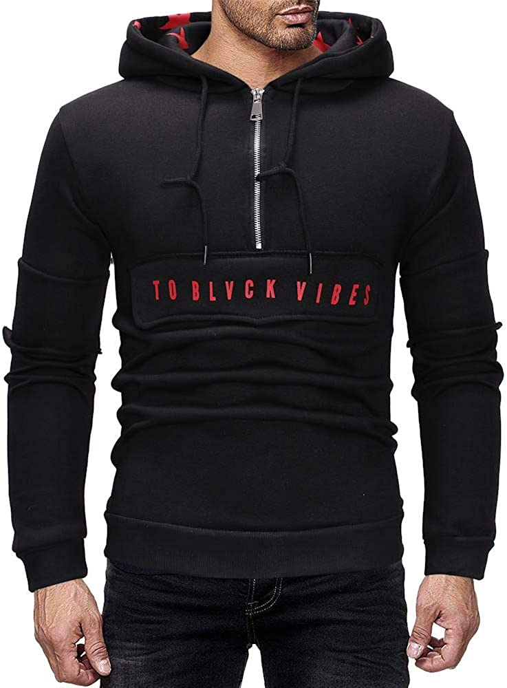 DIOMOR Mens Casual Basic 1/3 Zip Hoodie Pullover Fashion Letter Print Hooded Sweatshirt Top Outdoor Transitional Outwear