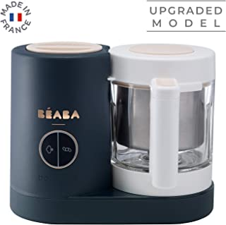 BEABA Babycook Neo, Glass Baby Food Maker, Glass 4 in 1 Steam Cooker & Blender, Comes with Stainless Steel Basket and Reservoir, Cook at Home, 5.5 Cup Capacity (Midnight)