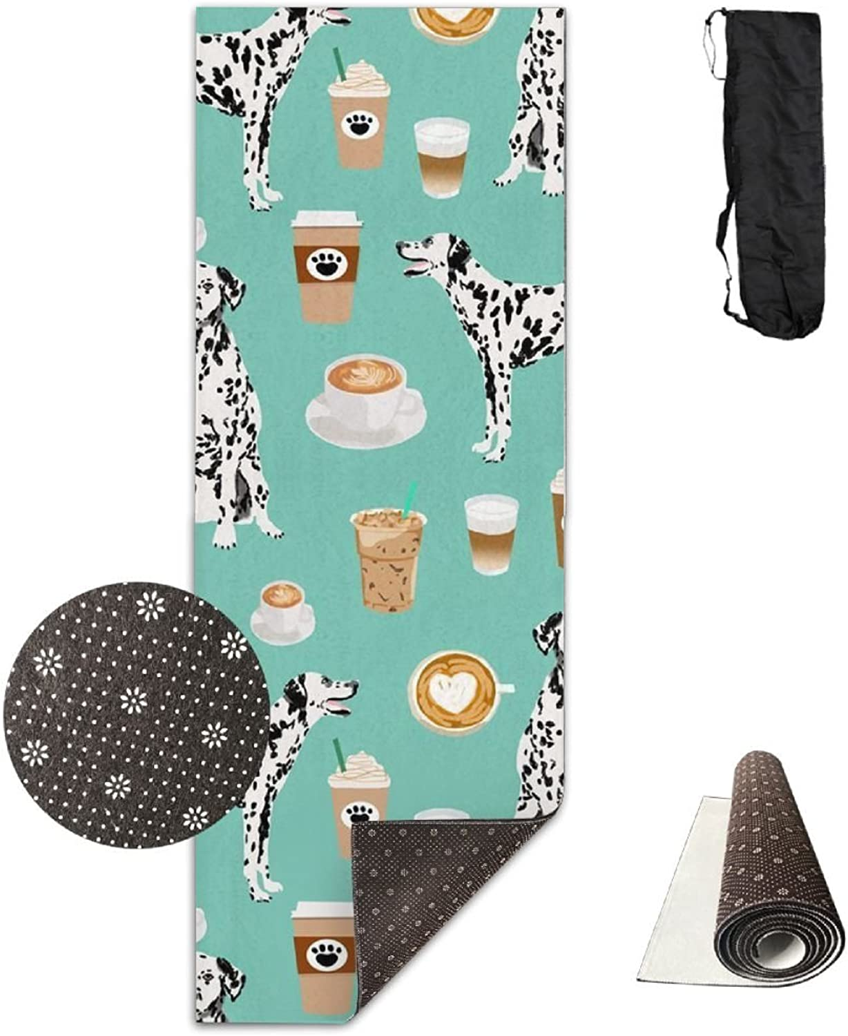 HHHSSS Long 70inch Wide 28inch Non Slip  Dalmatians Cute Mint Coffee Best Dalmatian Dog Print Exercise Mat for Yoga, Workout, Fitness with Carrying Strap & Bag