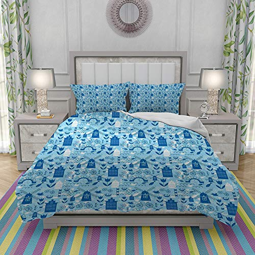 FYCORDB Duvet Cover Set-Bedding,Elements from Nature and Architecture of Netherlands in Blue Tones,Quilt Cover Bedlinen-Microfibre 140x200cm with 2 Pillowcase 50x80cm
