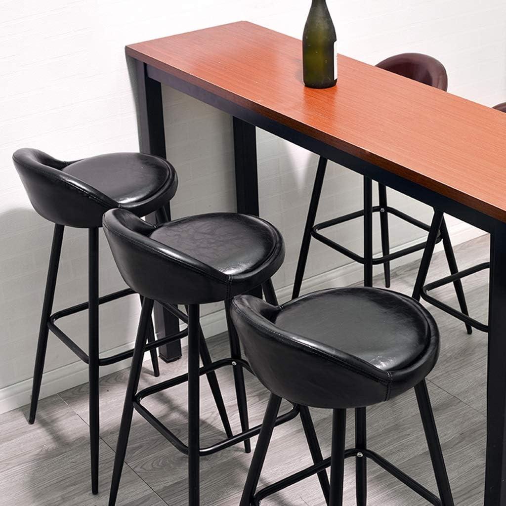 Qing MEI Mode Moderne en Métal Noir Chaise De Bar Jambes Bar Tabouret Meubles Banc De Cuisine PU Conception Coussin Assise Hauteur: 79CM A++ (Couleur : Bleu) Noir