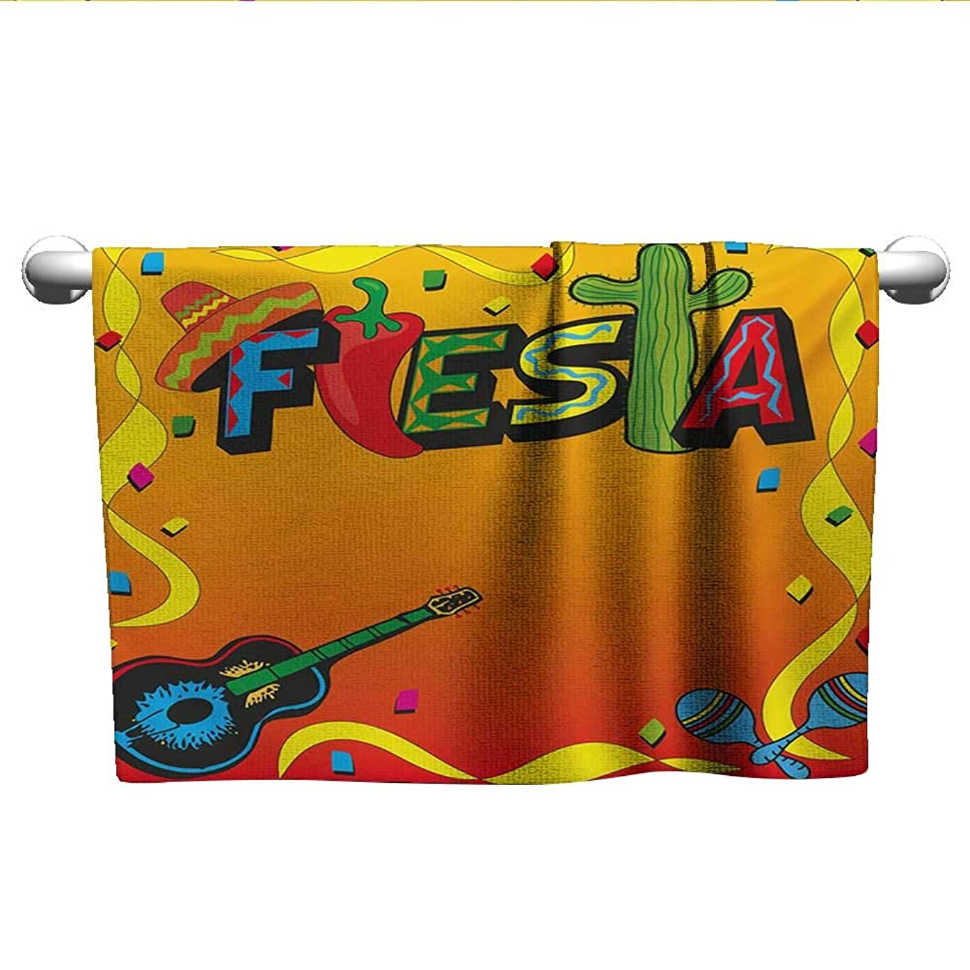 alisoso Fiesta,Face Towels Child Latino Pattern with Swirled Stripe Frame with Musical Instruments Confetti Design 3D Digital Printing Multicolor W 14