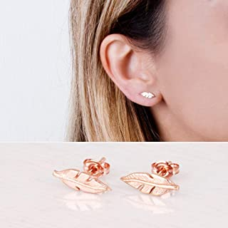 Rose Gold Feather Stud Earrings - Designer Handmade Delicate Statement Feather Post Earrings