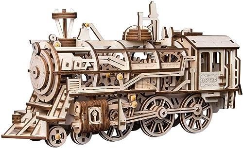 Enfants jouets 3D puzzle bricolage mouveHommest assemblé en bois modèle articulé pour les enfants adolescent horloge jouet de printemps (locomotive)