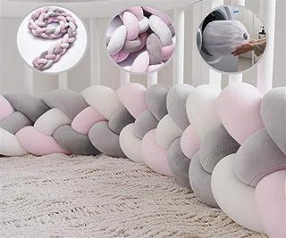 Icegrey Bettumrandung Babybett Bettschlange Geflochten Kinderbett Stoßfänger 4 Weben Baby Nestchen Bettumrandung Geflochtene für Krippe Kinderbett mit Wäschesack, Rosa  Weiß  Rosa  Grau, 3m
