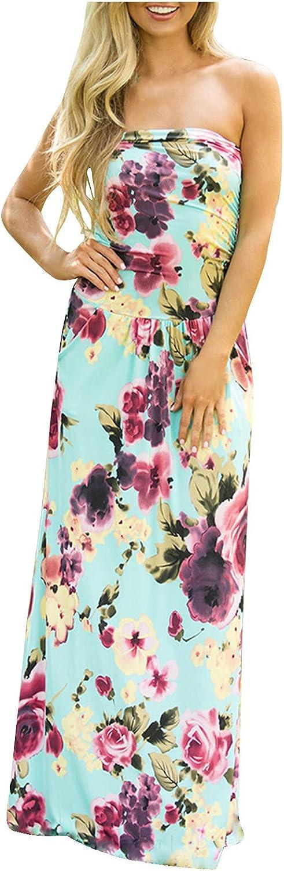 ODJOY-FAN Women's Bodycon Sleeveless Tube Top Sexy Strapless Floor Long Club Dresses Elegant Flower Printed Beach Dresses