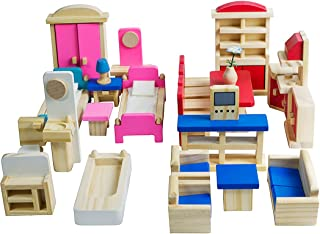 Seanmi Wooden Dollhouse Furniture - 5 Sets, Doll House Furnishings, 35 Pieces of Dollhouse Accessories (Living Room, Kitchen, Dining Room, Bedroom, Bathroom)