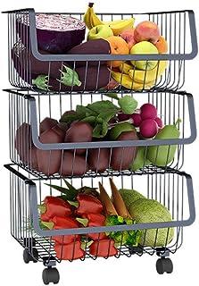 Support de rangement pour fruits et légumes de cuisine, casier à collations 3/4/5 couches, support à épices, chariot de sa...