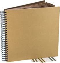 Kraft Guest Book, Photo Booth Album, Scrapbook, Blank Square Spiral Bound Cardboard Hardcover, 40 Sheets (12 Inches)