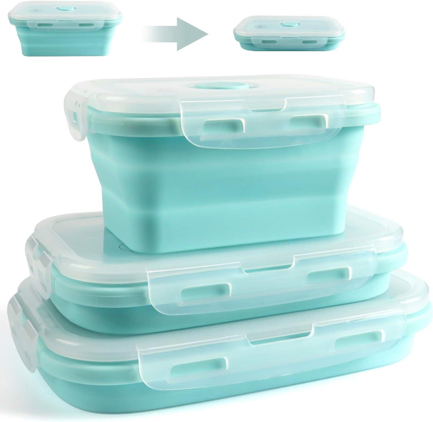 jojobnj 3 Pcs Recipientes de Silicona para Alimentos Fiambrera de Silicona Plegable Almacenamiento de Alimentos para Microondas, Congelador y Lavavajillas