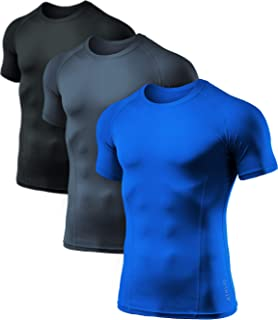 featured product ATHLIO Men's (Pack of 3) Cool Dry Compression Short Sleeve Sports Baselayer T-Shirts Tops BTS02
