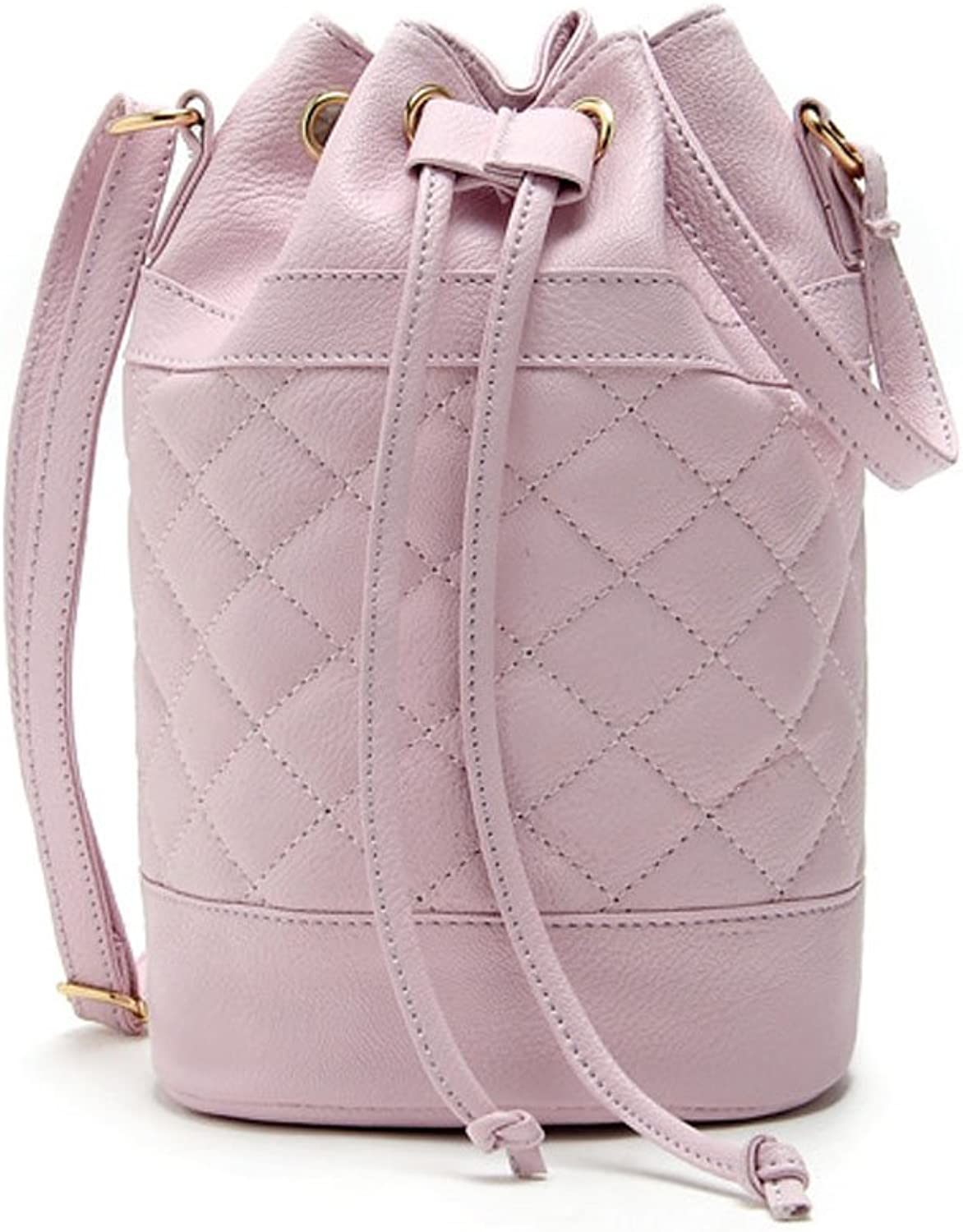 Catkit Charm Womens Quilted Drawstring Candy colors Tote Handbag Shoulder Crossbody Bag