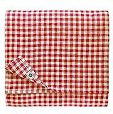 Linen & Cotton Mantel de Tela Mesa Pequeña Centro a Cuadros Guinga Estella - 100% Lino, Blanco Rojo (80 x 80 cm) Cuadrada Festivo para Casa Hogar Comedor Restaurante Cafetería Verano Primavera Pascua
