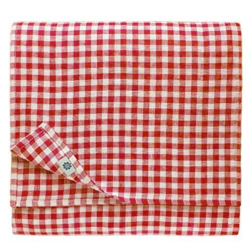 Linen & Cotton Tischdecke Tischtuch Tischwäsche Kariert Landhausstil Estella - 100% Leinen, Weiß Weiss Rot (100 x 100 cm) Quadratische Festliche Frühling/Home Küche Restaurant Cafe Hotel Gastronomie