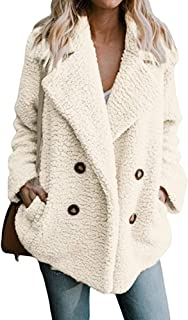 Bloomn Women's Fashion Long Sleeve Lapel Zip Up Faux Shearling Shaggy Oversized Coat Jacket with Pockets Warm Winter
