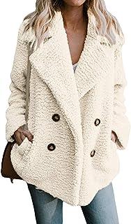 Bloomn Women's Fashion Long Sleeve Lapel Zip Up Faux Shearling Shaggy Oversized Coat Jacket with Pockets Warm Winter White