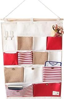 ACMEDE - Sac de Rangement Suspendu à 13 Poches en Tissu Panier Pochette de Rangement Sac Organisateur Mural (Rouge 2)