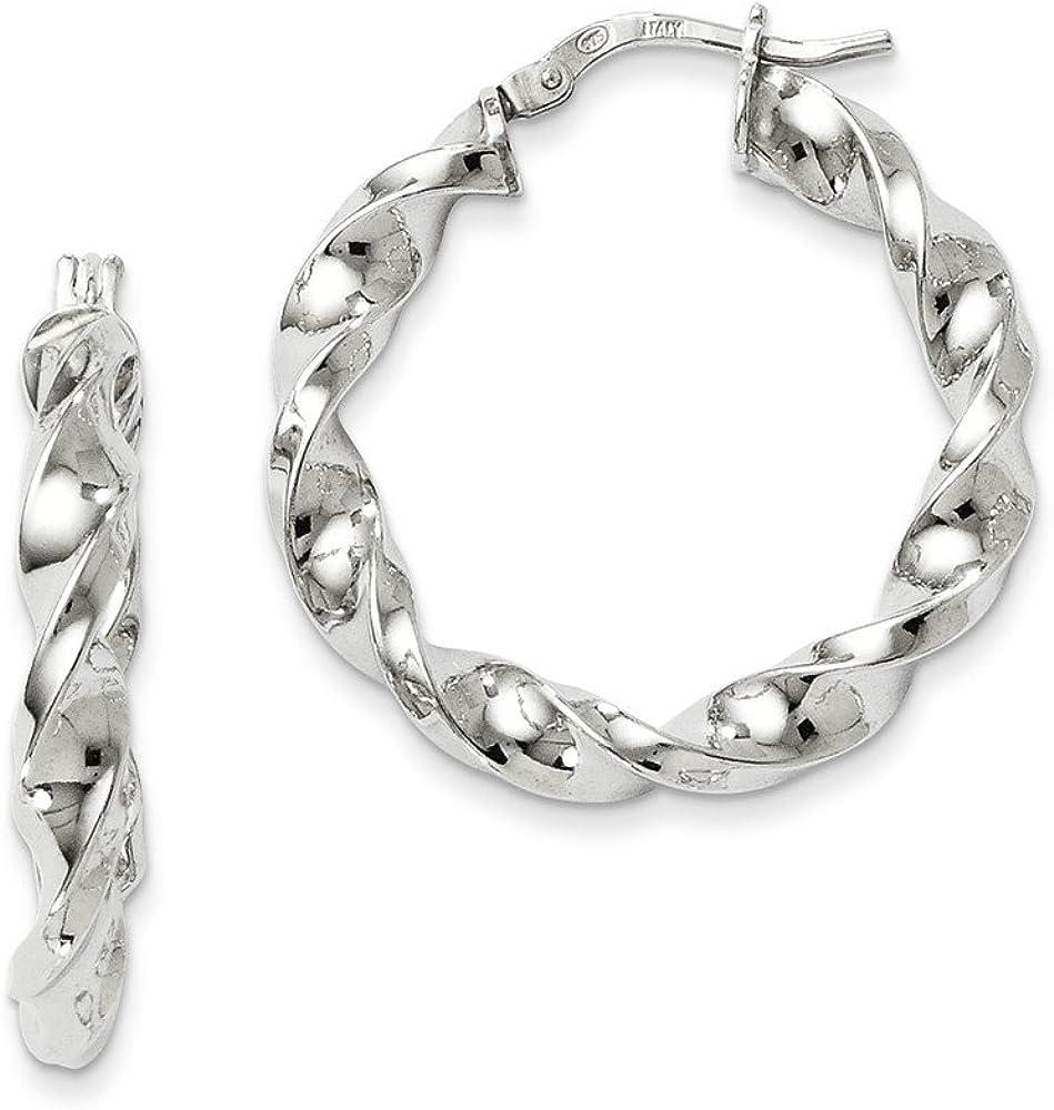 Popularity Leslies Sterling Silver Polished Twisted Earrings Finally popular brand QL Hoop Hinged