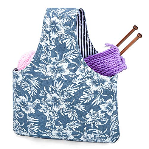 Teamoy Knitting Tote Bag(L12.2' x W7.5'), Travel Project Wrist Bag for Knitting Needles(up to 11 Inches), Yarn and Crochet Supplies,Perfect Size for Knitting on The Go (Small, Blue Flowers)