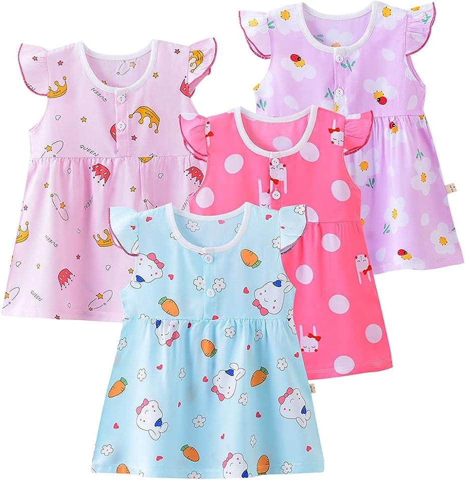 Kinder Mädchen 3er-Pack Kleider Baumwolle Mädchen 4-Pack Nightgowns