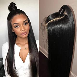 BLY Straight Lace Front Wigs Human Hair with Baby Hair Brazilian Virgin Hair 16 Inch for Black Women 150% Density Pre Plucked 13x4 Swiss Lace Size Part Natural Looking Jet Black Color