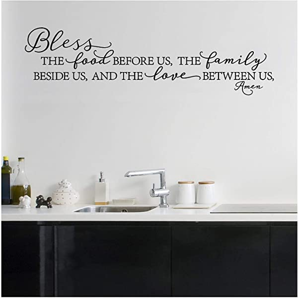 Bless The Food Before Us The Family Beside Us And The Love Between Us Amen Vinyl Lettering Wall Decal Style B 12 5 H X 46 L Black