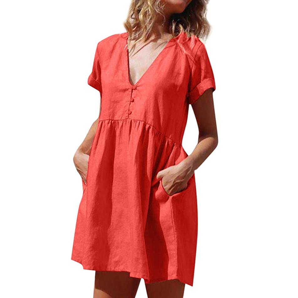 ??EDC 2019 Summer Women's Solid Cotton and Linen Dresses Casual Short Sleeve V-Neck Swing Short Dress with Pockets