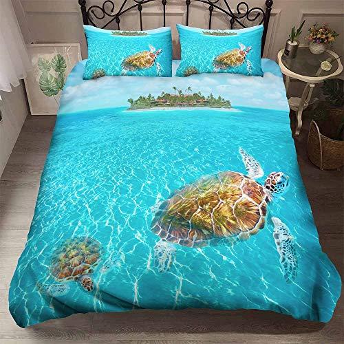 Ocean Dekbedovertrekset, dierlijke Sea Turtle, bedrukt beddengoed, dekbedovertrekset, met kussenslopen, microvezel, tweepersoonsbed, voor mannen en vrouwen, tieners GB King 230cm×220cm