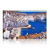 Five-Seller Mañana En Cadaqués Pintura Al óleo Moderna sobre Lienzo Arte Pop Pueblo Costero Paisaje Natural Imagen De Pared Imprimir para Sala Cuadros Decoración (con Marco,40_x_60_cm)