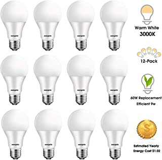 LED Light Bulbs 60 Watt Equivalent, A19 Warm White 3000K, E26 Base 750LM Non-dimmable UL Listed, 12 Pack