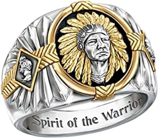Native American Indian Chief Head Ring for Men, Viking Warrior Ring Tribal Leader Head Ring for Boys