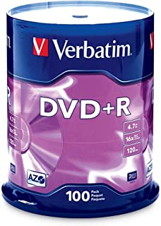 Verbatim DVD+R 4.7GB 16x AZO Recordable Media Disc - 100 Disc Spindle (FFP) - 97459 (Renewed)