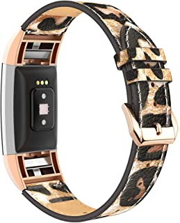 Simpeak Leather Band Compatible with Fitbit Charge 2, Genuine Leather Wristband Strap Replacement for Fitbit Charge 2,Leapard Band/Rose Gold Adaptor